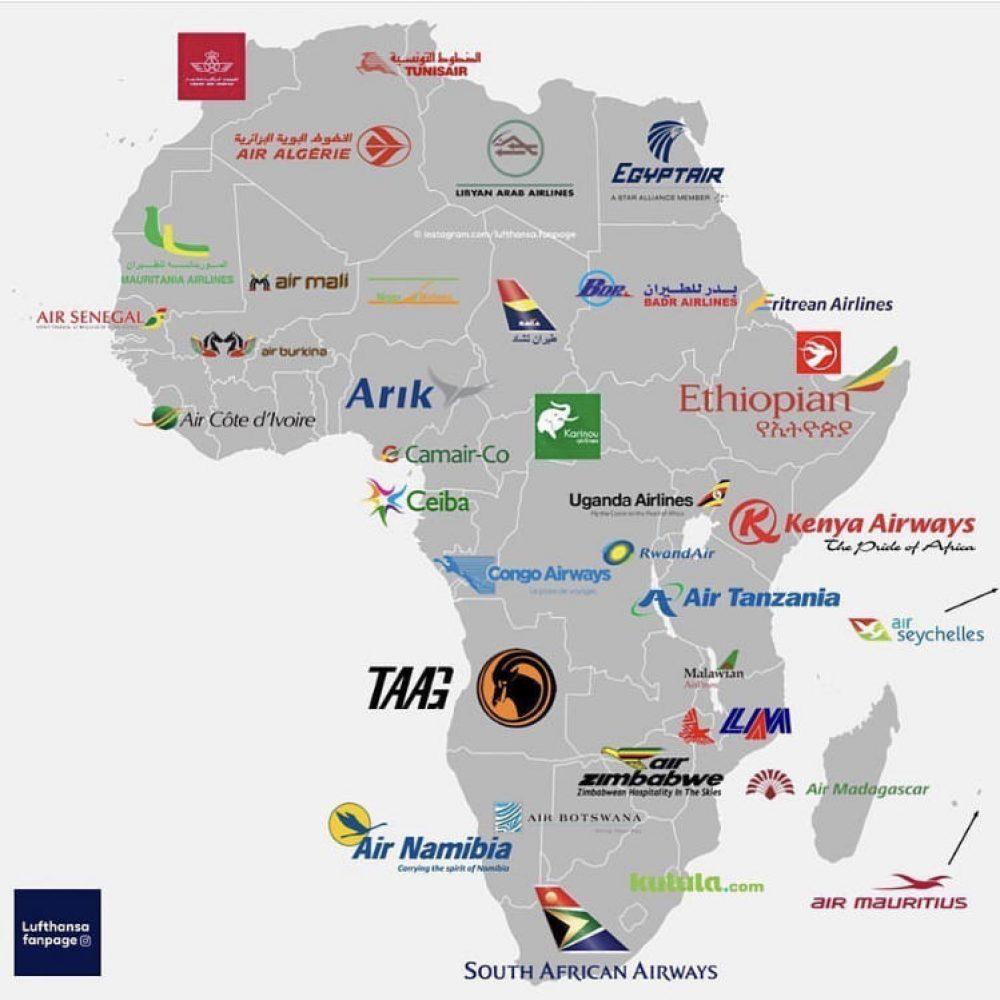 Les compagnies aériennes nationales en Afrique.