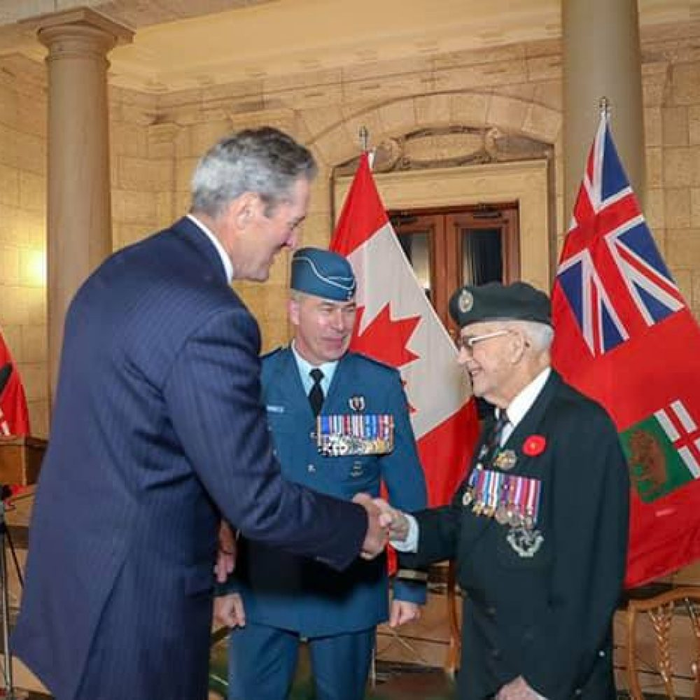 Hon. Brian Pallister, the Premier of Manitoba, on 75th annivers. of D-Day