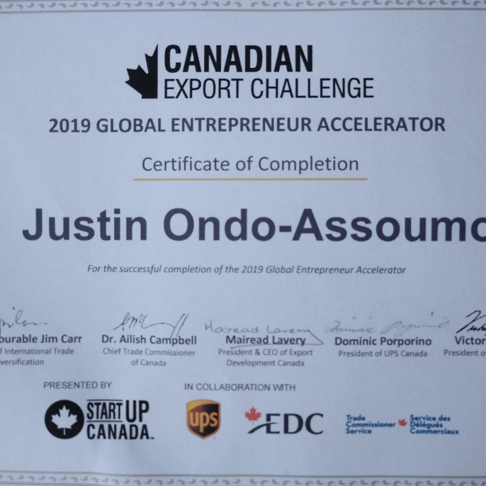StartUp Canada- Certificate of completion to JOAMA