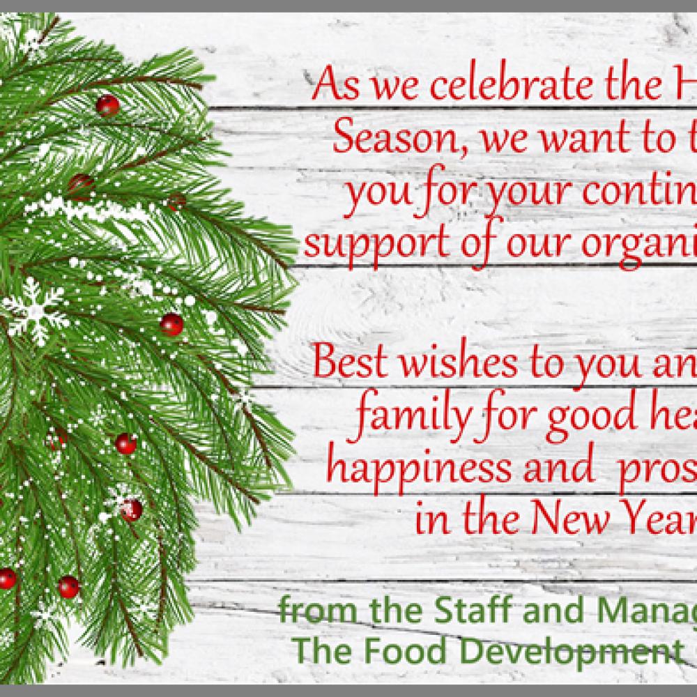 Food Development Centre – Season's Greetings
