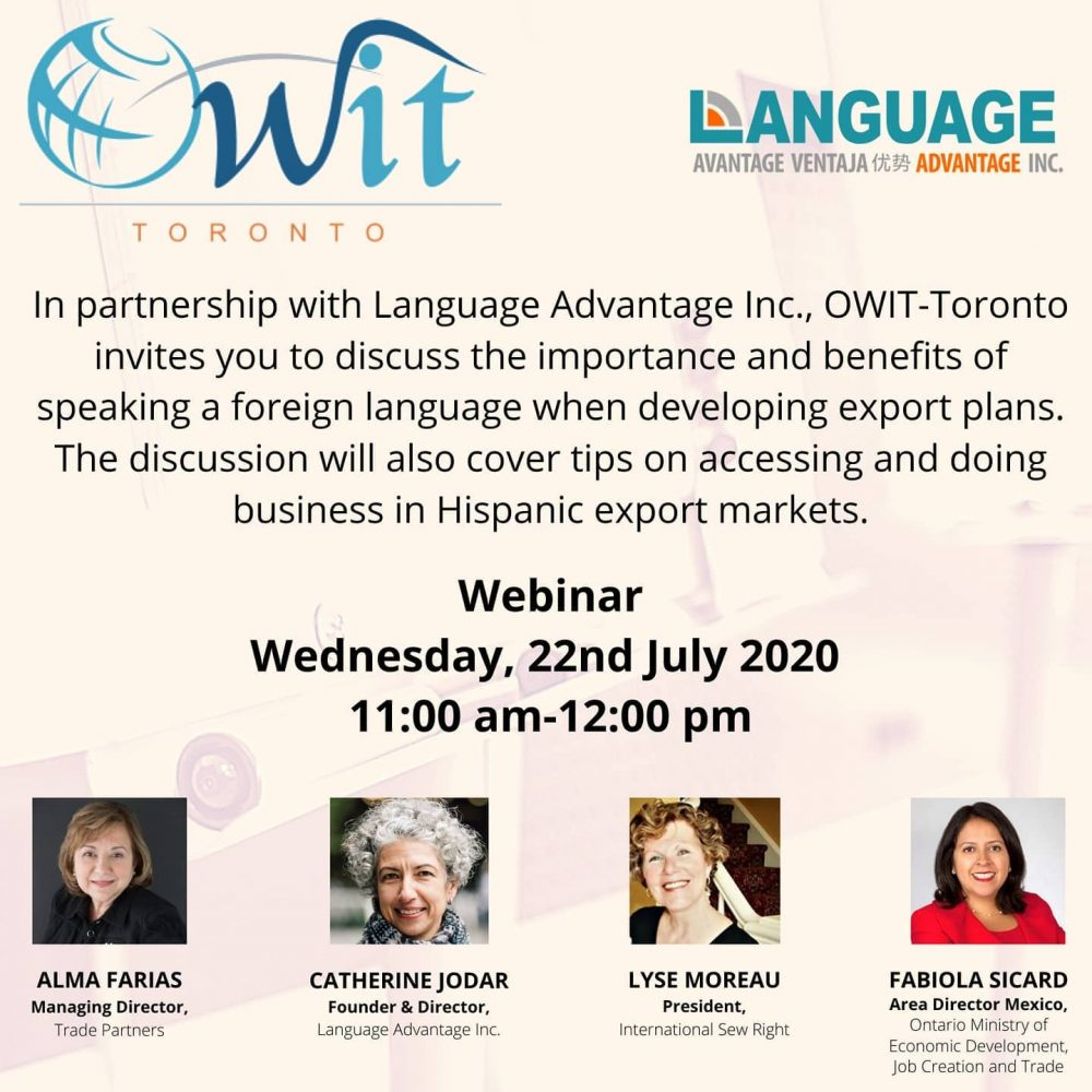 Participation of Joama Consulting on the OWIT-Toronto webinar