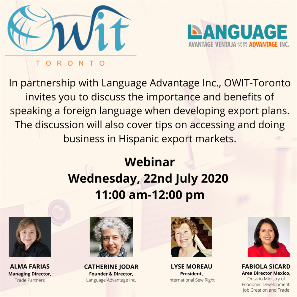 OWIT-United around the globe to foster international trade and the advancement of women in business / Webinar, Wed., July 22, 2020