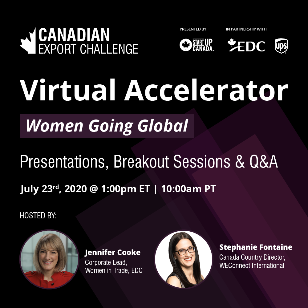 StartUp Canada & TCS/SDC-The Women Going Global Virtual Accelerator/ Jul 23, 2020 01:00 PM in Eastern Time (US and Canada)