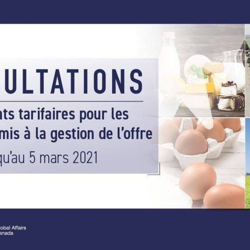 """CANADA – INTERNATIONAL TRADE : MINISTER MARY NG/ ONE OF LAST SHARINGS: """"… consultations on tariff rate quotas for dairy, poultry and egg products!"""""""