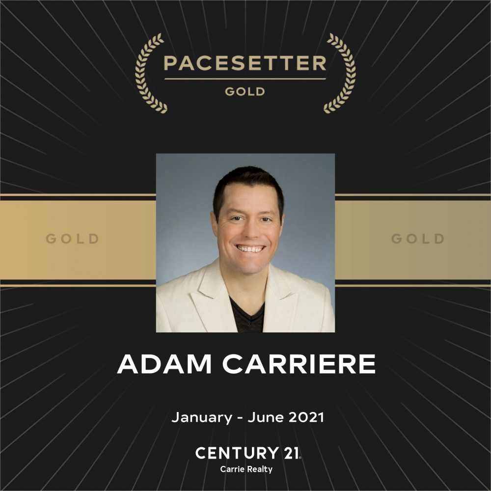 """MANITOBA – ADAM CARRIERE, Realtor, Century 21 Carrie Realty, PACESETTER GOLD AWARD: """"…Tremendous thanks to my clients who entrusted me to accomplish there Real Estate GOALS!!"""""""