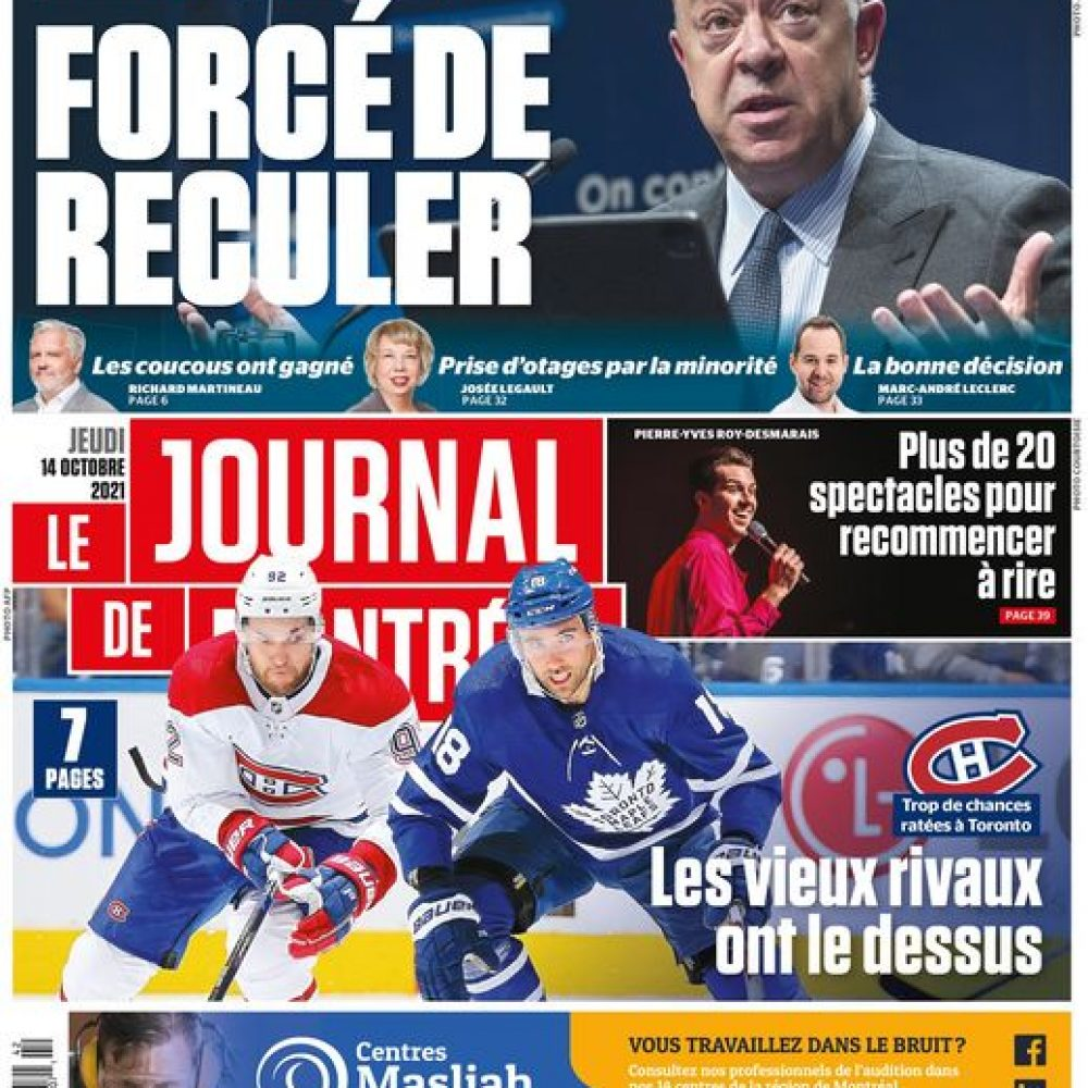 """QUEBEC (Canada) – LE JOURNAL DE MONTREAL / """"La UNE de votre Journal de MONTRÉAL, édition du 14 octobre 2021"""""""