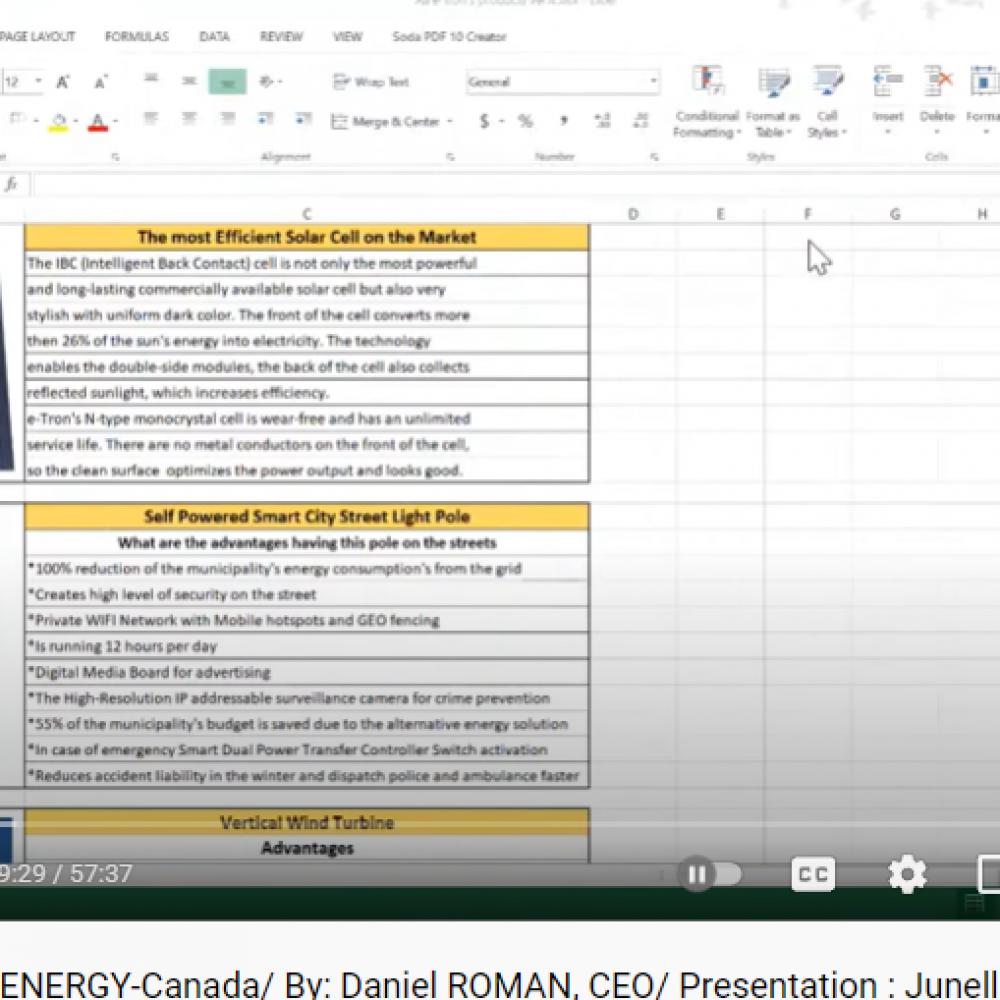 48TH SHOW/GUEST (REBROADCAST, français & ENGLISH): e-TRON ENERGY CORP. (ENERGY)- ONTARIO/ BY: Daniel ROMAN, President & CEO – PRESENTATION: JUNELLA ONDO, VP&GM, JOAMA CONSULTING/ECCA-MB – TUESDAY, 19, 2021